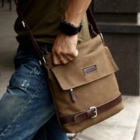Bolso Bolsas Casual hombres lona de Brown de la vendimia de hombro de cuero del mensajero de trabajo de excursión el bolso de la taleguilla de los hombres Bolsas bolso de la fanfarronería de ocio