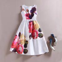Wholesale New Summer Celebrity inspired Women Elegant Vintage Retro Flower Floral Print Vest Dresses Sleeveless O Neck Vestidos de Fiesta