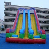 big playground slides - Big colorful playground slide inflatable trampoline slide adult high slide inflatable customized large inflatable double slide for sale