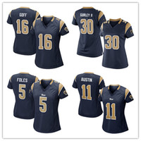 austin blue - womens Rams Jared Goff Todd Gurley II Foles Austin football Jersey cheap blue Soccer rugby Jerseys t shirts size S XL