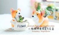 Wholesale Creative Resin Planter Flowerpot Kawaii Corgi Garden Succulent Plants Jardin Bonsai Desk Flower Pot