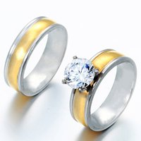 Wholesale Fashion Jewelry large CZ stone stainless steel Charm Couple Rings For Lovers Valentine s Day gift