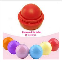 Wholesale 6 Color Round Ball Smooth Lip Balm Fruit Flavor Lip Care Smackers Organic Natural Lip Balm Makeup Set