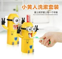 Wholesale Despicable Me Pegman Minions Wash gargle suit toothbrush holder Cups little yellow man automatic toothpaste dispenser toothbrush holder