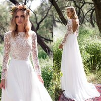 bead embellished - 2016 long sleeves country wedding dresses sexy scoop back bateau neckline heavily embellished bodice lace A line tulle skirt sweep train