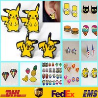 Wholesale 47Style pair Cartoon Poke Pikachu Stud Earrings Women Girls Hamburger Iron Anvenger Captain Fruits Superman Earrings Gifts HH E01
