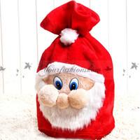 Wholesale New Chrismas Gift Bag X mas Backpack Cartoon Santa Claus Super Soft Sack Christmas Decoration Candy Bag drawstring cm Z530