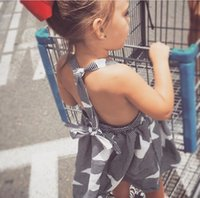 Wholesale Girl Summer Dress Children Stripe Star Print Dress Kids Pure Cotton Backless Suspender Dress
