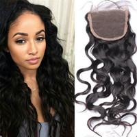 Wholesale Wet and Wavy Brazilian Lace Closure Free Parting Hair Closure Pieces Bleached Knots Human Hair Top Closure With Baby Hair Water Wavy