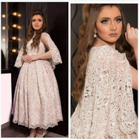 Cheap Champagne Lace A line Arabic Prom Dress 2016 Hot Jewel Neck Long Cap Sleeve Ruffle Middle East Evening Dress Ankle Length Custom made
