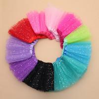 Wholesale 10 Color Girls Glitter Ballet Dancewear Tutu Skirt Girls Bling Sequins Tulle Tutu Skirts Princess Dressup Skirts Costume K7158 BJ