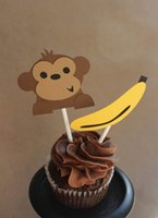banana baby food - Monkey and Banana Cupcake Toppers wedding birthday baby shower Party food picks photo booth props