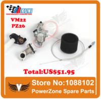 air intake throttle - MIKUNI Carburetor VM22 mm PZ26 Intake Pipe Air Filter Visble Throttle Settle Cable Fit KAYO IRBIS Motorcycle Dirt Bike