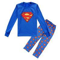 Wholesale 8 Year Superman Pajamas Sets for older boy Long Sleeve Tee Shirts Tops Blue Pant Suit Pyjamas Kid Sleepwear negligee PJS WQBL