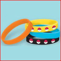 Wholesale go pokeball Silicone Bracelets Silicone Bracelets Colors Kids Wristband Pikachu Bracelets Wristband Silicone Bracelet Party Gifts Bangle