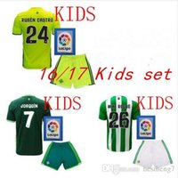 Wholesale 2016 Real Betis Kids Jerseys child teens Shirt JOAQUIN VAN DER VAART RUBEN CASTRO Wholesalers home rugby Jersey