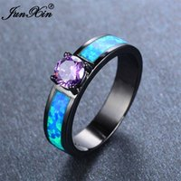 Wholesale JUNXIN European Style Small Round Purple Amethyst Ring Vintage Black Gold Ring Blue Fire Opal Wedding Rings For Men And Women