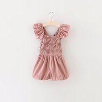 Red baby clothes direct - 2017 New Baby Kids Girl Overalls Pants Lace Ruffle Cotton Summer One Piece Pants Children Clothing Factory Direct