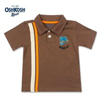Wholesale OshKosh Boys Polo Shirts Cotton Summer Tee Shirts for Kids Brown Baby Boys Tops Clothes Shark Cartoon Logo T shirts Polo
