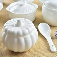 Wholesale The stew of pure white ceramic mini water stew pot Cup nest pumpkin steamed egg diet with lid creative shipping