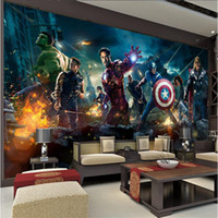 Wholesale custom photo wallpaper High quality HD Captain America The Avengers hero cartoon movie character Boy room large mural wallpaper d