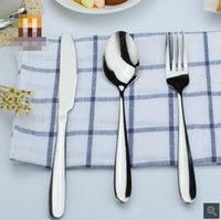 Wholesale Western tableware knife and fork set stainless steel steak knife and fork spoon three piece gift mirror polishing