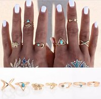 Cheap 7PCS set Brand Natural Stone Bohemian Midi Ring Set Vintage Steampunk Cross Moon Anillos Ring Knuckle Rings for Women Anel 2016 HJIA487