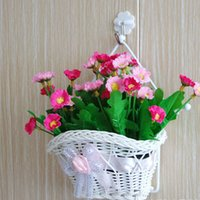 beautiful hanging baskets - beautiful White Silk Bowknot design artificial flower hanging baskets on door graden for wedding festival party home decoration