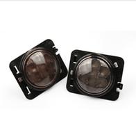 Wholesale Pair Black LED Front Fender Flares Turn Signal Light LED Side Marker Lamp For Jeeps Wrangler JK Amber