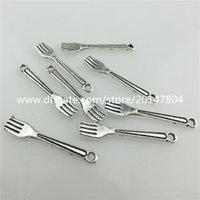 alloy restaurant - 20083 Vintage Silver Alloy Smooth Mini Restaurant Cutlery Fork Pendant