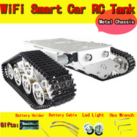 al por mayor chasis de orugas rc-Venta al por mayor-RC Tank Chasis Crawler Inteligente Barrowload Tractor obstáculo Caterpillar Wall-e infrarrojos Ultrasonic patrulla diy toy kit uno r3