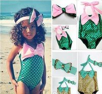 Wholesale Europe Children Swimming Girl Baby Bikini Swimwear Kids Little Mermaid Swim With Headband Cute One Piece Swim A80701