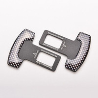 Wholesale Seat Belts Buckles Cars - Brand New Carbon Fiber Car Safety Seat Belt Buckle Alarm Stopper Clip Clamp 1 Pair Free Shipping[FG15392]