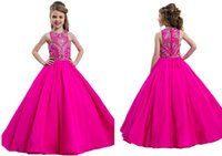 Wholesale 2016 Fuchsia Little Girls Pageant Dresses Sequins Long Back Lace Up Crystal Rhinestones Kids Party Princess Children Ball Dance Gowns