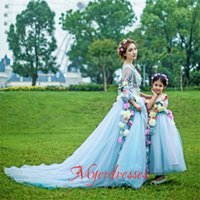 apple family - BM Mother and Daughter Evening Dress Special Occasion Dress Family fitted Party Gowns with Colorful Handmade Flower Girl Dresses Cheap