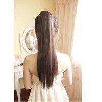 Cheap Wholesale-Heat Resistant Synthetic Hair Tail For Women Natural Black Brown Party Costume Long Straight Ponytail Extension