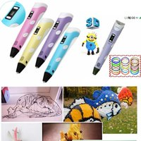 Wholesale Kids Cheap D Drawing Pen v2 Support ABS PLA With LCD Screen DHL