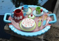 Wholesale Kitchen Toys Pretend Play wooden toy with cake tea cup good material good gift for kids baby toy