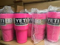 Wholesale Pink oz YETI Rambler Tumbler Cup Cooler Cup Stainless Steel Insulation Cup With LOGO Travel Camping Mugs QQA383