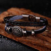 Wholesale new Fashion cm Vintage Braided Wristband Bracelet Sun Flower Totem Punk Leather Beads Bracelet for girl gift