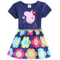 animal lantern - Girl Dress Nova Summer Girls Party Dress Children Princess Dress for Kids Girl Cotton Dress Flower Printing Skirt H6068
