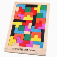 Wholesale Wooden color intellectual puzzle blocks puzzle Tetris game variety children baby toys