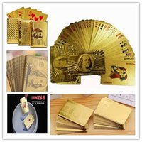 Wholesale Euro US dollars Style Waterproof Plastic Playing Cards Gold Foil Golden Poker Cards K Gold Foil Plated Playing Cards Poker Table Games