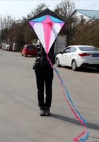 Wholesale NEW Toys High Quality ft cm Diamond Kite Long Tail With Handle and Line Good Flying