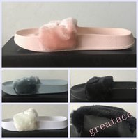 Wholesale 2016 Rihanna Fenty Creepers Women Summer Slippers Fashion Women Girl Slippers fur sandals pink white black DHL Free FORCITY