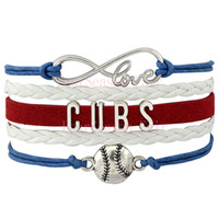 baseball charm bracelets - Custom Infinity Love Chicago Cubs Baseball Sport MLB Team Bracelet Wax Cords Leather Wrapped Adjustable Bracelet Bangles Drop Shipping