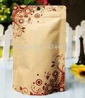 aluminium laminated - 14 cm Bottom aluminium foil Printing Kraft paper bag Stand Ziplock Packing Pouch for tea food