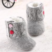 Wholesale Christmas Infant Baby Girls Snow Boots Fur Knitted Wool Thicken Warm Toddler Boy Girl First Walker Shoes Infant Boots Newborn Shoes E09