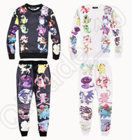 Wholesale Poke print D tracksuit cartoon Hoodied Sets sweat suit cute men women joggers hoodies set outfit clothes piece Sports suit OOA582