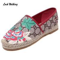 band canvas prints - Women Cane Straw Flower Print Embroidery Fisherman Flat Platform Thick Bottom Boho Boat Shoes Snicker Canvas Espadrilles Loafers